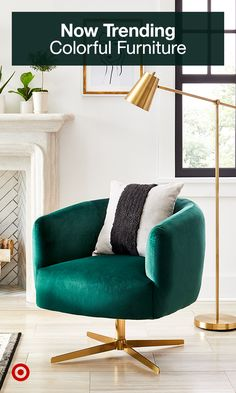 Make a statement with colorful furniture & accent chairs to liven up your living room decor & modern-boho interiors. Living Room Green, Bedroom Green, Master Bedroom, Emerald Bedroom, Free Standing Lamps, Green Furniture, Colorful Furniture, Accent Furniture, Modern Furniture