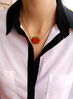 Roses necklace, Polymer clay flowers, Red roses jewelry, Necklace with flowers, Elegant jewelry, Elegant necklace, Everyday necklace