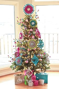 pink and blue colored whimsical christmas tree