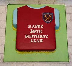 West Ham football t shirt cake in a yummy Victoria sponge