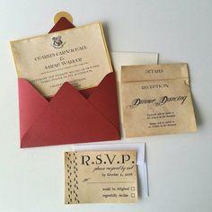 Harry Potter Theme Wedding Invitation  5 x 7 by bellybeancards