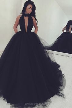Ball Gown High Neck Tulle Sweep Train Ruffles Black Backless Prom Dresses from dressesofgirl.com #black_dresses #prom_dresses