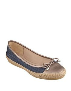 Easy Spirit Gizana Leather Cap Toe Flats Women's Blue 7.5M