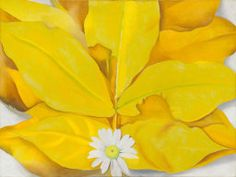 Georgia O'Keeffe American, 1887-1986, Yellow Hickory Leaves with Daisy