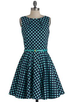 Luck Be a Lady Dress in Blue Dots - Mid-length, Blue, Polka Dots, Exposed zipper, Party, A-line, Sleeveless, Belted
