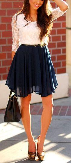 White Half Sleeve Lace Contrast Navy Chiffon Belt Dress.