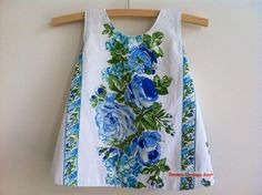 Blue and white baby pinny made from upcycled by BananaOrangeApple, $40.00 #castteam