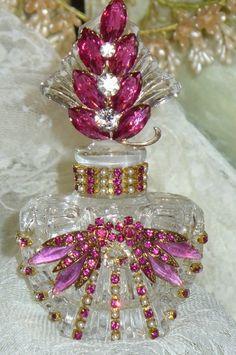 Antique Bejeweled Perfume Bottle 10 By Debbie Del Rosario-Antique, Perfume… Antique Perfume Bottles, Vintage Bottles, Bottle Vase, Bottles And Jars, Glass Bottles, Perfumes Vintage, Glas Art, Beautiful Perfume, Altered Bottles