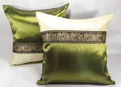2 Pcs Thai  Cushion Cover Square Pillow Case Patchwork 16.5x16.5 Inc. Green #Handmade