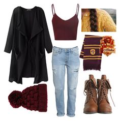 """""""Gryffindor"""" by kenzie-allen8184 ❤ liked on Polyvore featuring River Island, H&M, Glamorous, women's clothing, women's fashion, women, female, woman, misses and juniors"""