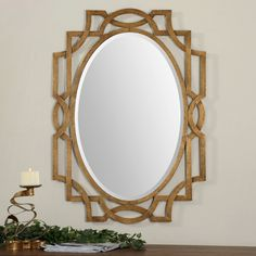 Uttermost& Gold Oval Mirrors Combine Premium Quality Materials With Unique High-style Design. Bamboo Mirror, Metal Mirror, Beveled Mirror, Mirror Glass, Nautical Mirror, Antique Gold Mirror, Antique Silver, Arch Mirror, Mirror Ideas