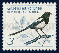 Definitive Postage Stamp, magpie, Bird, Ivory,  Gray, 1977 10 01, 보통우표, 1977년 10월 1일, 1069, 까치, postage 우표