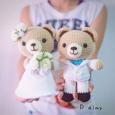 Vintage theme. #couple #teddy #bear #doll #gift #wedding #groom #bride #amigurumi #handmade #craft #crochet