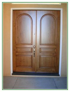 Great Share Wooden Sharp Double Entry Door Design