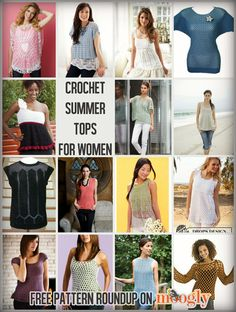 Crochet Summer Tops for Women of all sizes - 10 Free Patterns! - some cute styles