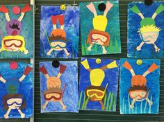 Art in elementary school: divers - Art Education ideas Summer Art Projects, Summer Crafts, Classroom Art Projects, Art Classroom, Arte Elemental, 2nd Grade Art, Ecole Art, Kindergarten Art, Preschool