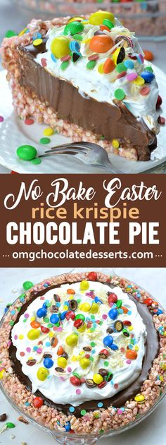 Looking for quick and easy Easter dessert recipe? This No Bake Easter Chocolate Pie with Rice Krispie crust and chocolate pie filling, topped with whipped cream, and M&M candies is perfect and easy dessert recipe. beef quick No Bake Easter Chocolate Pie Chocolate Pie Filling, Chocolate Pie Recipes, Chocolate Pies, Easter Chocolate, Chocolate Shavings, White Chocolate, Chocolate Cupcakes, Chocolate Cheesecake, Quick Chocolate Desserts