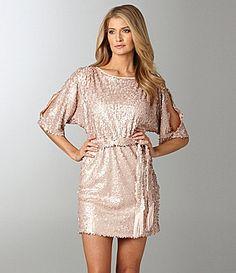 Jessica Simpson Sequin Cold-Shoulder Dress | Dillards.com