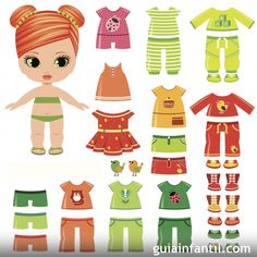 Illustration about Paper doll with clothes set. Illustration of green, pretty, clothing - 31903441 Paper Toys, Paper Crafts, Image Paper, Paper Dolls Printable, Craft Projects For Kids, All Paper, Colored Paper, Felt Dolls, Free Paper