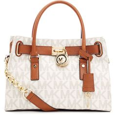 MICHAEL Michael Kors Hamilton Logo Satchel Bag ($278) ❤ liked on Polyvore