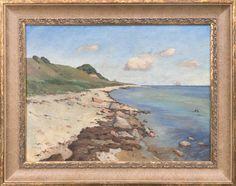 "Theodore Bernard Dahl ""Shoreline Seascape"" Oil on Canvas   July 2, 2016 Auction at Rafael Osona Auctions Nantucket, MA"