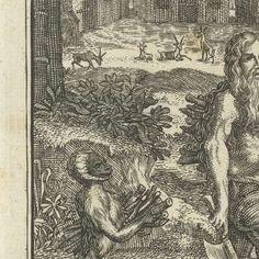 Kluizenaar en aap bij het hout sprokkelen, Jacques Collan, Jan Daniel Beman, 1728 - Search - Rijksmuseum