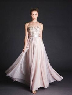 Pale rose strapless gown with rosette detailing