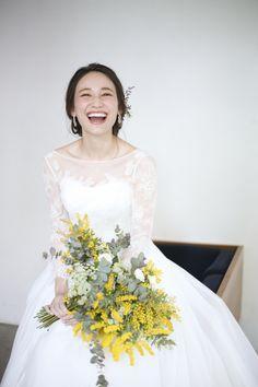 ミモザ / ユーカリ / クラッチブーケ Yellow Wedding, Floral Wedding, Wedding Bouquets, Wedding Flowers, Bridal Gowns, Wedding Gowns, Wedding Photo Images, Yellow Bouquets, Pageant Gowns