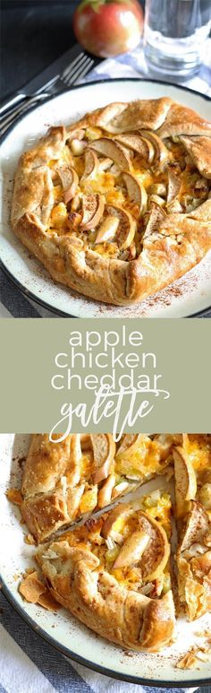 If you're looking for savory recipes with apples, this apple chicken cheddar galette is the one. It is perfect for dinner - and autumn. | honeyandbirch.com
