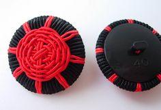 DM09 Black Red Passementerie Braided Buttons Knots w/Shank 4pcs