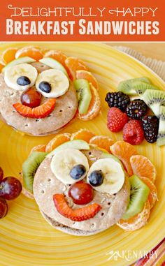 Start your day with a little fun! Turn Jimmy Dean Delights Frozen Breakfast Sandwiches into happy faces using fruit for an easy meal your kids will love. #ad