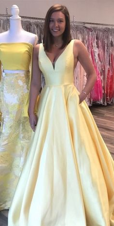 simple long prom dress, 2018 yellow long prom dress, princess v neck yellow long prom dress with pockets