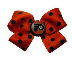 Large Philadelphia Flyers Hockey Hair Bow by APinkLemonadeDesigns, $6.00