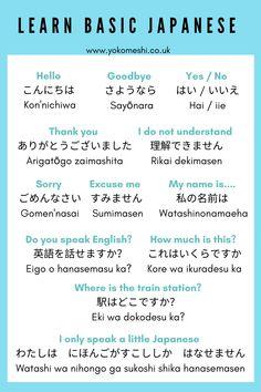 Learn Basic Japanese, Basic Japanese Words, How To Speak Japanese, Japanese Phrases, Study Japanese, Learn Korean, Japanese Travel, Learning Japanese, Japanese Verbs