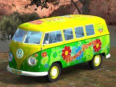 Een beetje hippie reed in een VW busje rond