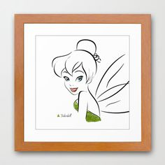Disney's Tinkerbell Minimalist Art 12x12-Professional Metallic Print - Disney Home Decor, wall art, girls room, Peter Pan Pixie Dust. $21.50, via Etsy.