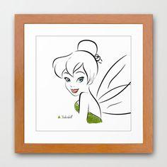 Disney's Tinkerbell Minimalist Art 12x12-Professional Metallic Print - Disney Home Decor, wall art, girls room, Peter Pan Pixie Dust. $21.50, via Etsy.