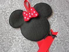 Boutique Miss Mouse Felt Hair Bow Holder and Hair Clip Set RED. $10.99, via Etsy.