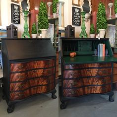 Vintage mahogany secretariat painted with Chalk Paint® by Annie Sloan in Graphite and Amsterdam Green with the drawer fronts refinished with dark wax.