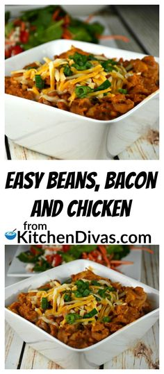 My late husband absolutely loved thisEasy Beans, Bacon and Chicken recipe! He loved everything about baked beans in tomato sauce. I think he could have eaten them every day! This recipe is fast and fabulous! The recipe can be easily cut in half depending on the size of the group you are feeding! Perfect for any day or night of the week!