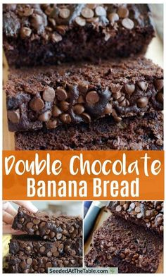 Double Chocolate Banana Bread #chocolaterecipes Sour Cream Banana Bread, Moist Banana Bread, Banana Bread Muffins, Protein Pancakes, Breakfast Pancakes, Protein Breakfast, Sweet Breakfast, Healthy Bread Recipes, Banana Bread Recipes