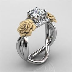 flower rose 925 silver ring 112ct white topaz woman men wedding size 6 10 - Mickey Mouse Wedding Ring