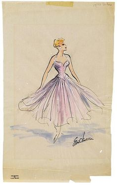 Elois Jenssen chiffon gown costume sketch for Lucille Ball in I Love Lucy. (Desilu, 1951-1957)