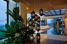 Indoor swimming pool with asian style lantern lighting