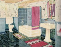 1930s aqua bathroom. Love the tile but could do without the horrible pedestal sinks.