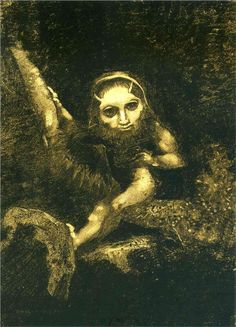 Odilon Redon (French: 1840–1916), [Post-impressionism, Symbolism] Caliban on a…