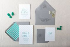 Thomas Wedding Invitation in Emerald and Grey - SAMPLE - Clean, Modern, Simple Wedding Invitations - Stripe Wedding Invitations. $5.00, via Etsy.