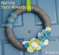 Spring Yarn Wreath with Rag Braid Flowers - such cheerful colors!