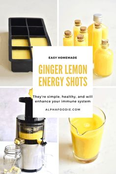 These simple lemon, ginger, honey and cayenne immunity shots are part of a wonderful immune booster juice to start the day right during cold and flu season ( or any time of the year! Lemon Ginger Tea Benefits, Ginger Lemon Tea, Tumeric And Ginger, Lemon Water Benefits, Health Benefits Of Ginger, Lemon Shots, Ginger Shot, Smoothies, Drinking Lemon Water