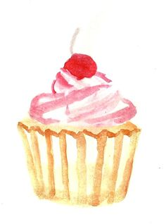 New Fashion Ilustration Art Drawing Watercolour Ideas Watercolor Cake, Watercolor Print, Watercolour Painting, Watercolors, Watercolor Lettering, Cupcake Kunst, Cupcake Art, Cupcake Illustration, Cupcake Painting